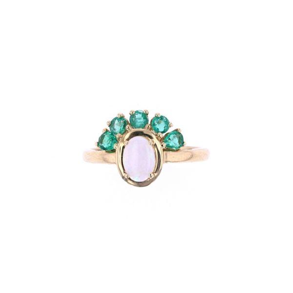 Australian Opal & Emerald 14k Yellow Gold Ring