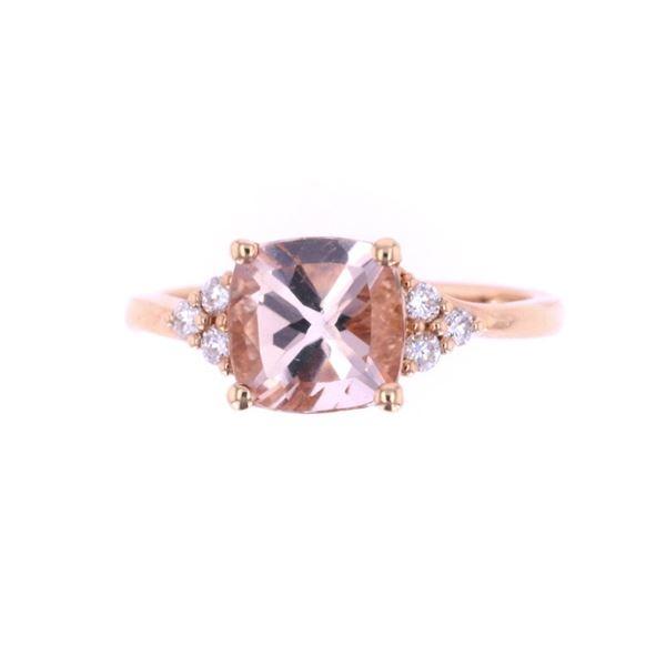Asscher Morganite & Diamond 14k Rose Gold Ring
