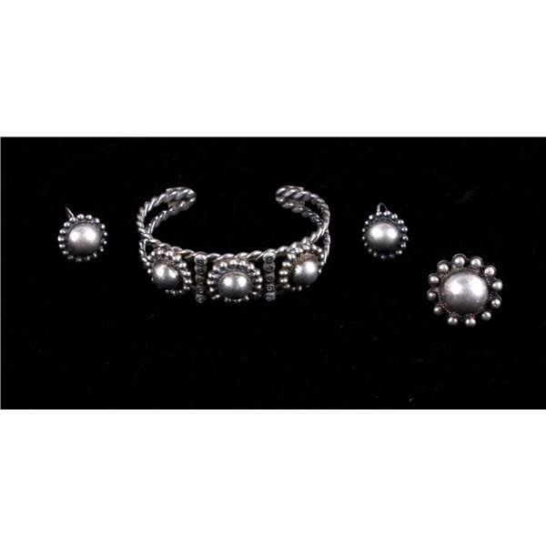 Navajo Sterling Silver Bracelet Ring & Earrings