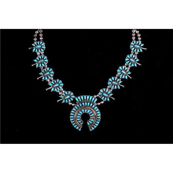 Navajo Sterling Silver Cerrillo Turquoise Necklace