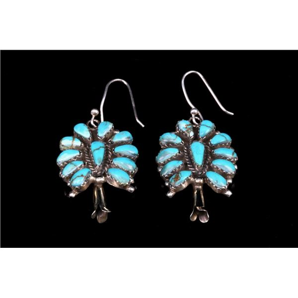 Navajo Sterling Silver Cerrillo Turquoise Earrings