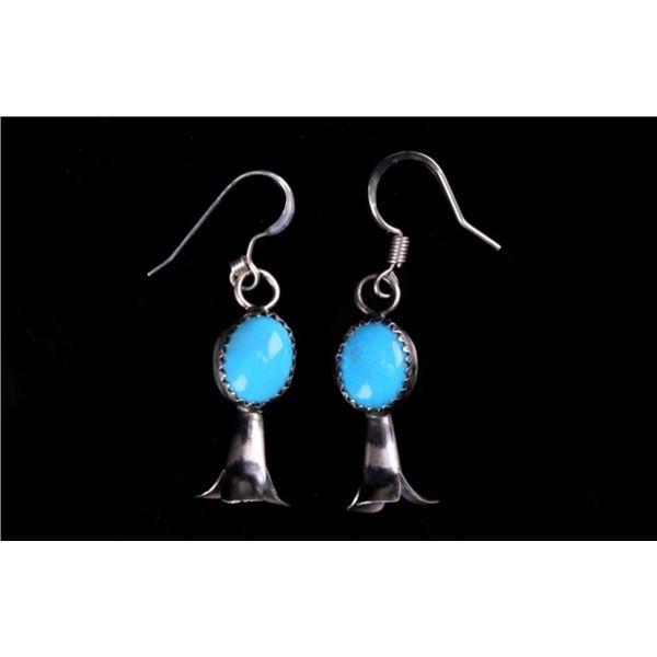 Navajo Sleeping Beauty Blossom Sterling Earrings