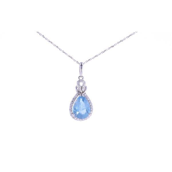 Aquamarine & Diamond 14k White Gold Necklace