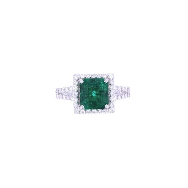 Natural Emerald & Diamond 18k Gold Ring