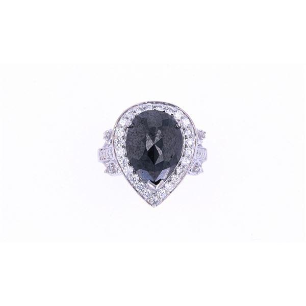 Natural Black & White Diamond 18k Gold Ring