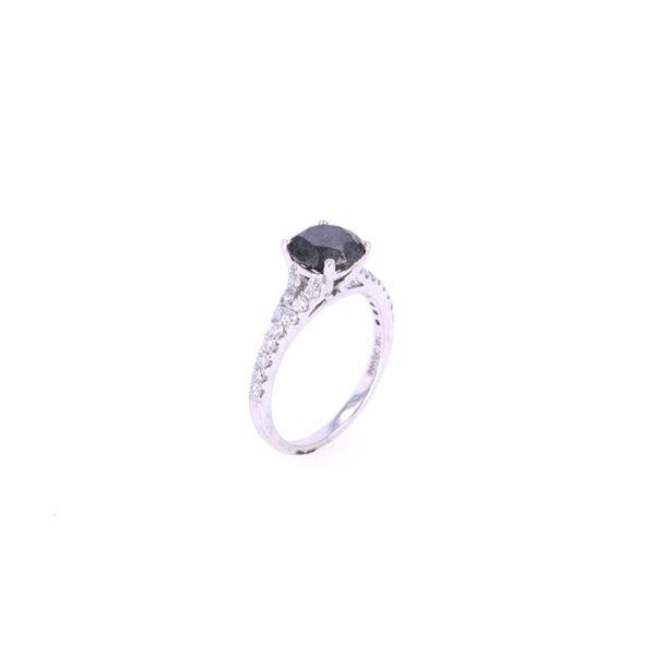 Natural Black & White Diamond 14k Gold Ring