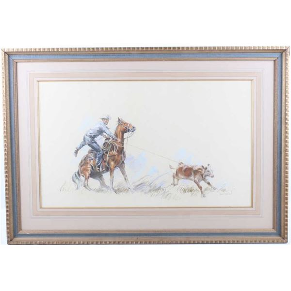 Harley Brown Roping Cowboy Original Pastel Art