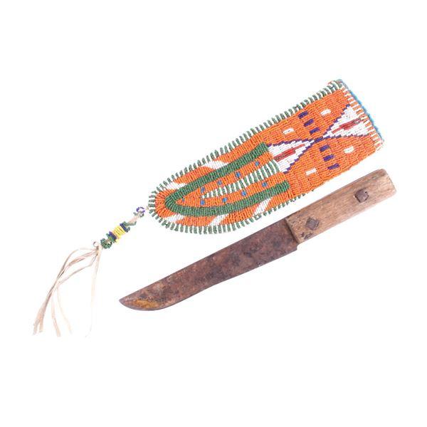 Crow Fully Beaded Sheath & Trade Knife c. 1800's