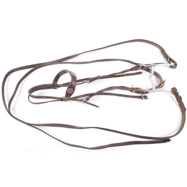 Gold & Silver Accented Black Leather Headstall