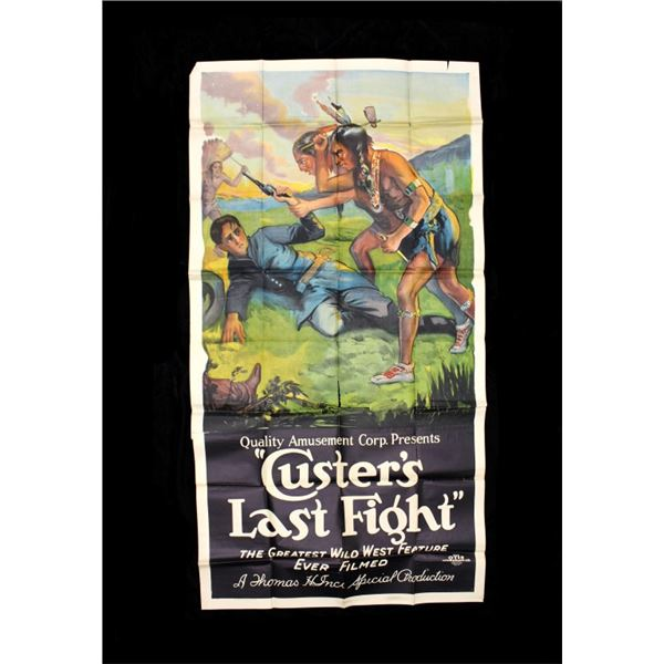 LARGE RARE Custer's Last Fight Film Poster c.1922