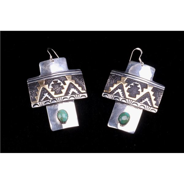 Navajo T&R Singer Sterling & Turquoise Earrings