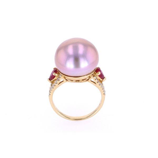 Freshwater Pearl Ruby & Diamond 18k Gold Ring