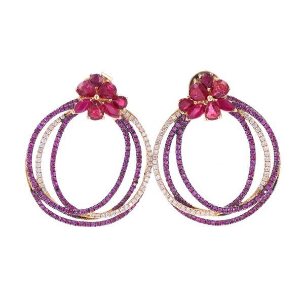 Gorgeous Ruby, Topaz & Diamond 18k Gold Earrings