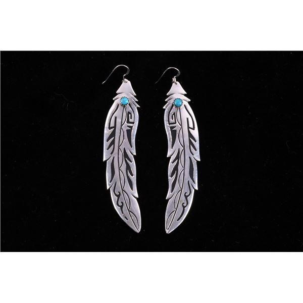 Navajo Singer Sterling Turquoise Feather Earrings