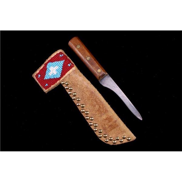 Blackfoot Tacked and Beaded Sheath & Trade Knife