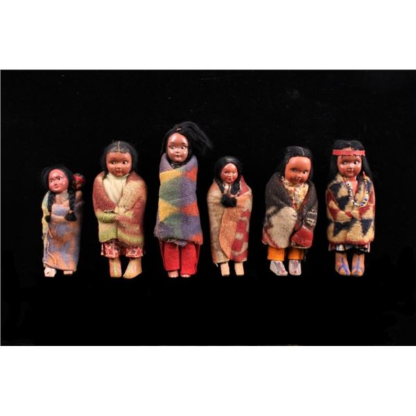 Collection of Squaw Skookum Dolls c. 1920's