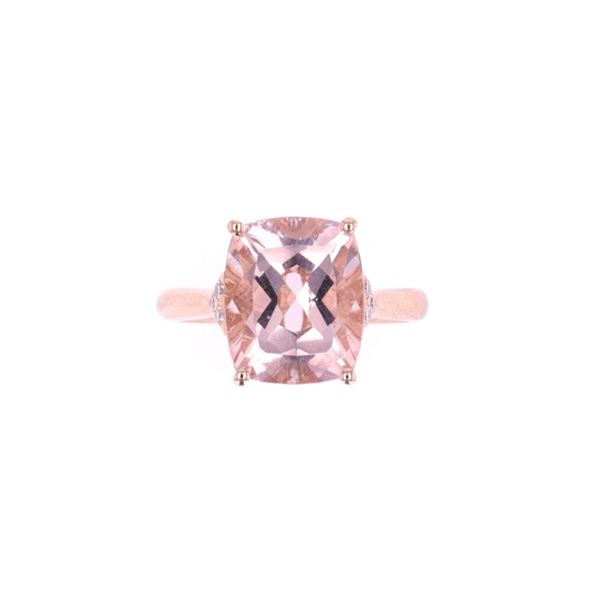 Brilliant Morganite & Diamond 14k Rose Gold Ring