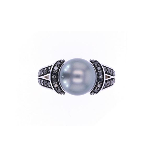 Tahitian Pearl & Black Diamond 14k White Gold Ring