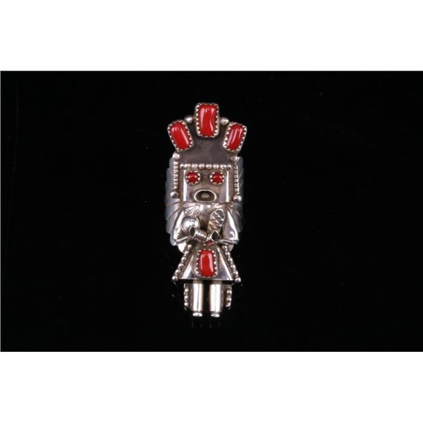 Navajo Sterling & Ox Blood Coral Kachina Ring