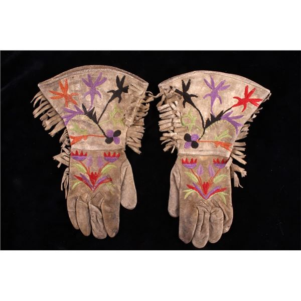 Eastern Sioux Embroidered Hide Gauntlets c. 1900's