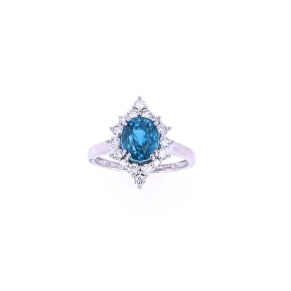 RARE Blue Zircon & Diamond Platinum Ring