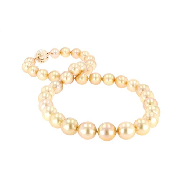 Rare Natural Golden South Sea Pearl 14k Necklace