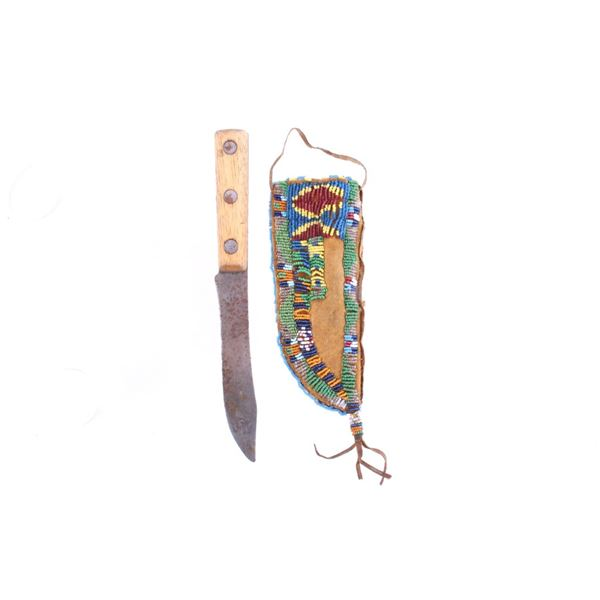 Sioux Fully Beaded Leather Sheath & Knife 19th C.