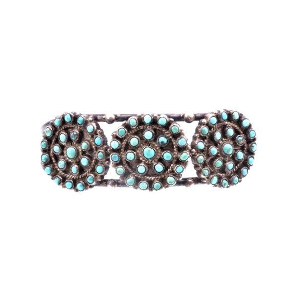 Zuni Snake Eye Sterling & Cripple Creek Bracelet