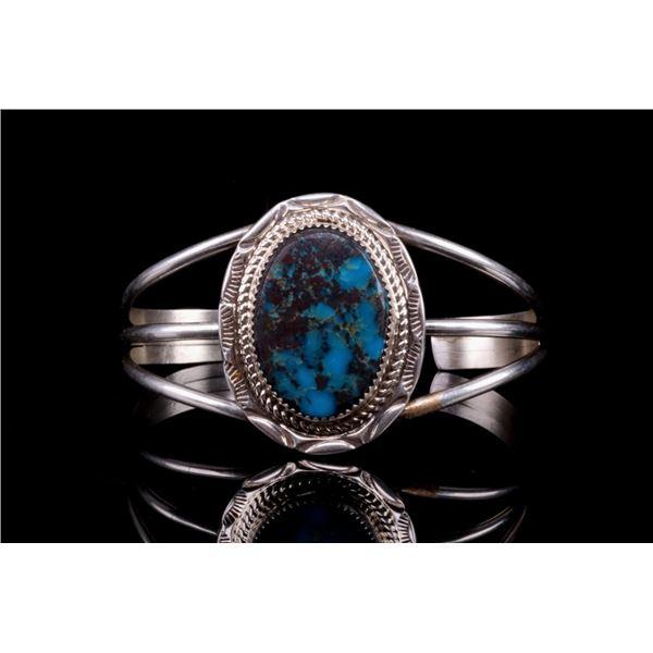 Navajo Sterling Silver Turquoise Signed Bracelet