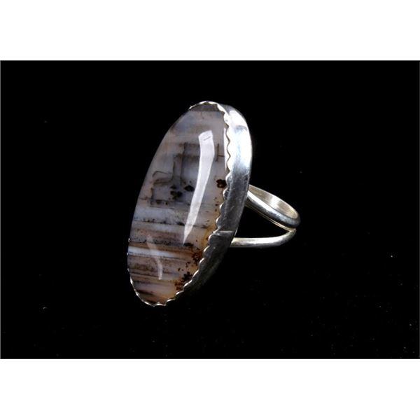 Navajo Bernadine Begay Tsosie Montana Agate Ring