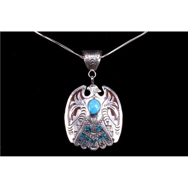 Navajo Sterling Silver Thunderbird Signed Necklace