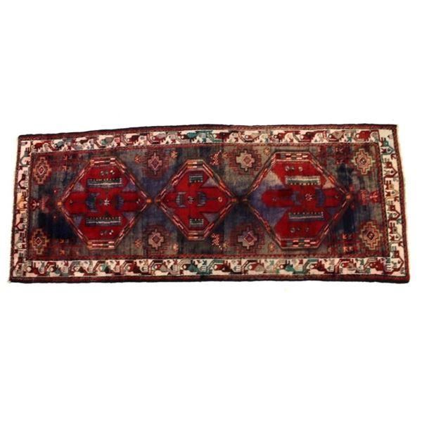 Heriz Serapi Persian Hand Knotted Wool Runner 1930