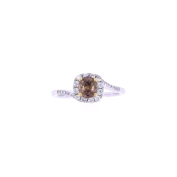 Padparadscha Sapphire & Diamond Platinum Ring