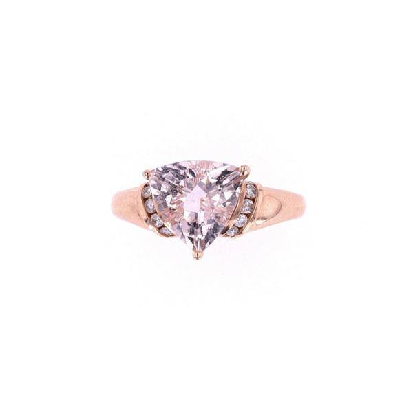 Trillion Morganite & Diamond 14k Rose Gold Ring