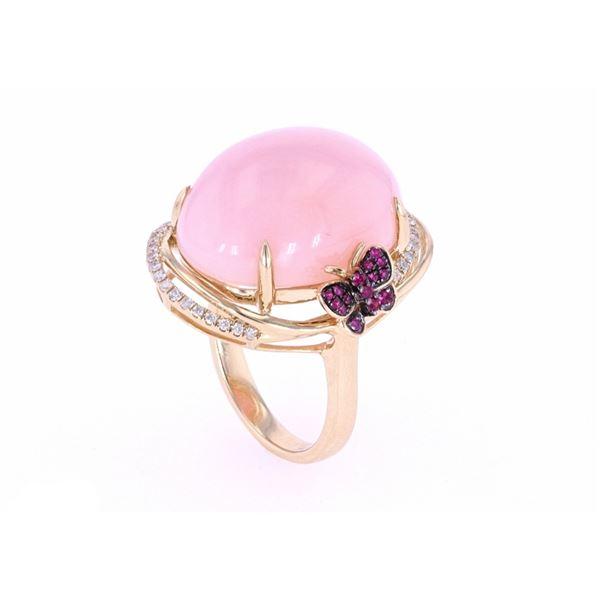 Pink Opal & Pink Topaz Diamond 14k Gold Ring