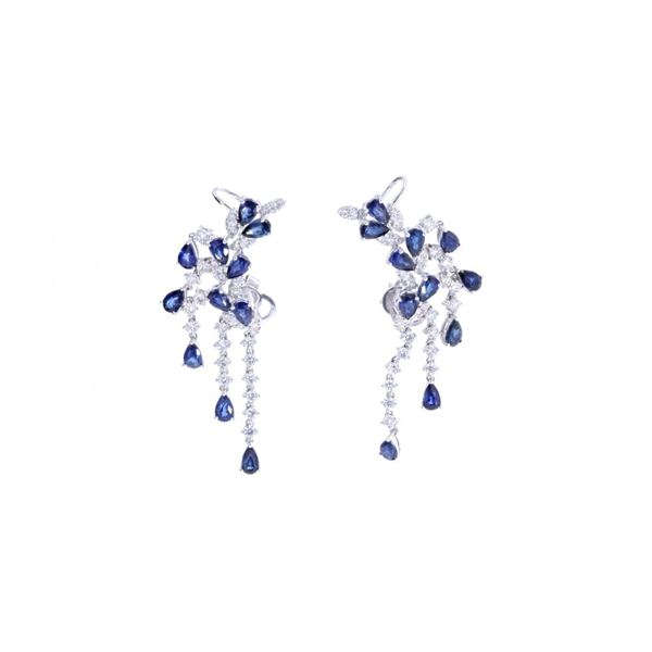 Luxury Blue Sapphire & Diamond 18k Gold Earrings