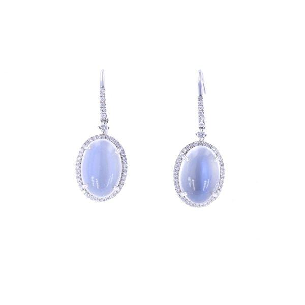 Blue Moon Stone & Diamond 14k Gold Earrings