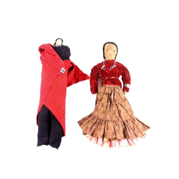 Navajo Embroidered Doll Pair circa Early 1900's