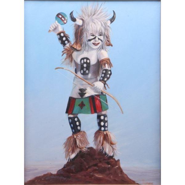 "Hopi ""White Buffalo"" Dancer Kachina Painting"