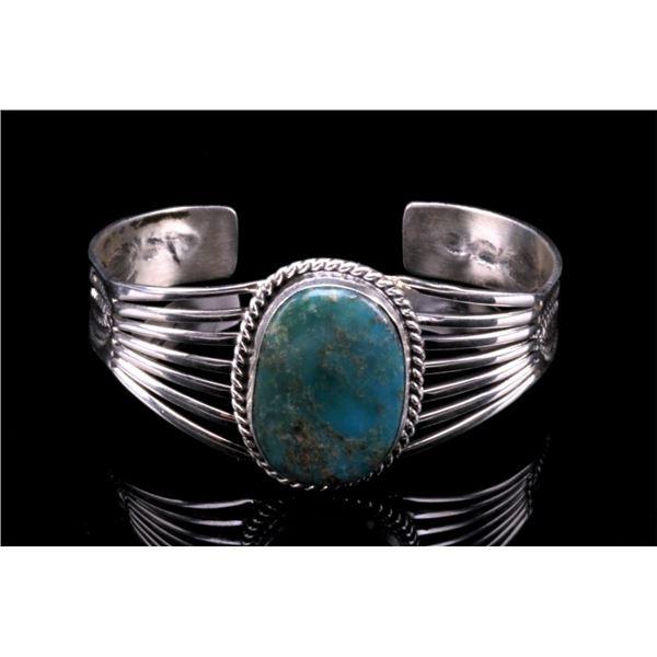 Navajo Sterling Silver & Turquoise Signed Bracelet