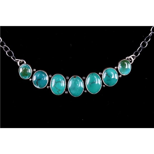 Navajo Sterling Silver Fox Turquoise Necklace