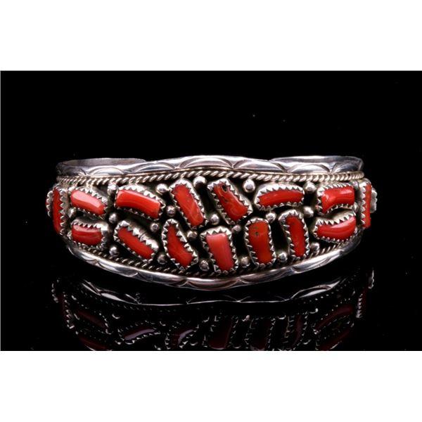 Navajo Sterling Silver Red Branch Coral Bracelet