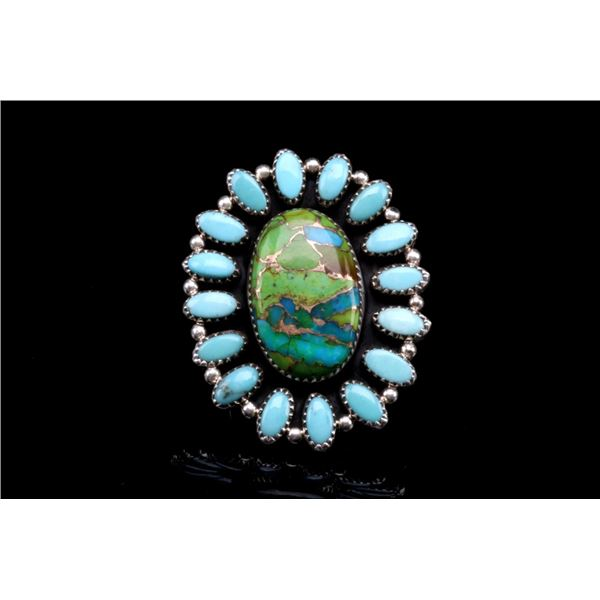 Navajo Sterling Silver Mojave Turquoise Ring