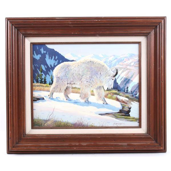Elmer Sprunger Mountain Goat Painting (1919-2007)
