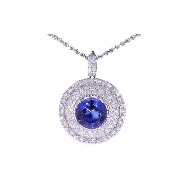 HUGE 11.23 ct. Tanzanite & Diamond 14K Necklace