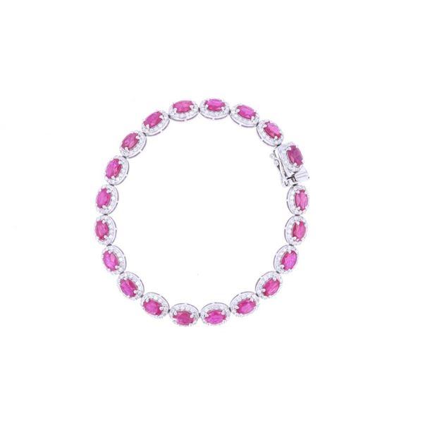 Natural Ruby & Diamond Platinum Bracelet