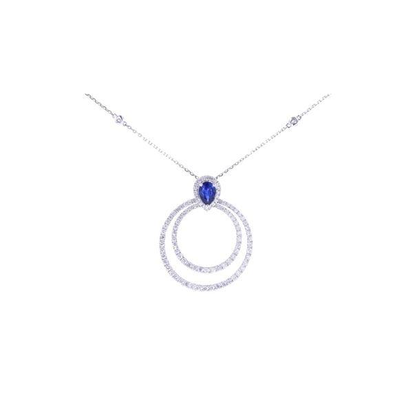 Gorgeous Blue Sapphire & Diamond 18k Gold Necklace