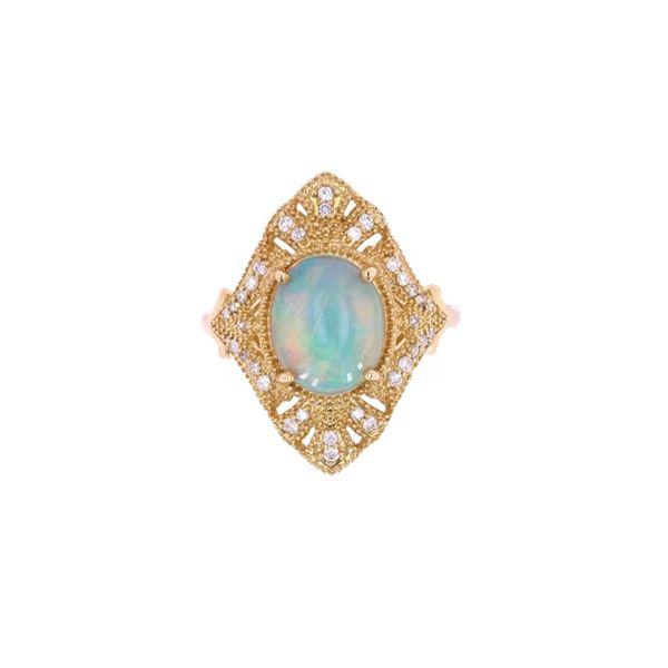 Ethiopian Opal & Diamond 18k Yellow Gold Ring