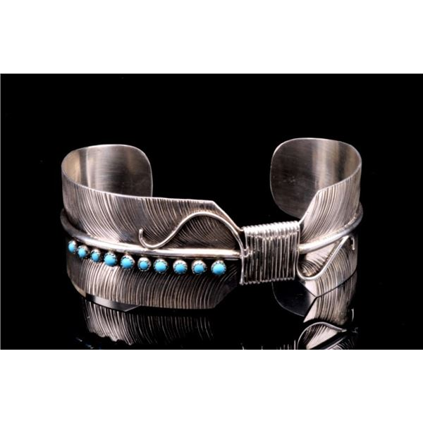 Navajo Sterling Silver Feather Turquoise Bracelet
