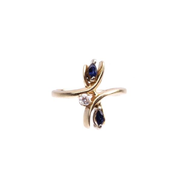 14K Gold Sapphire & Diamond Estate Freeform Ring